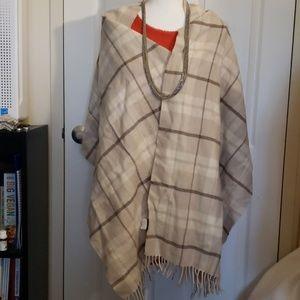 "J. Crew winter white plaid wool scarf 22"" X 76"""